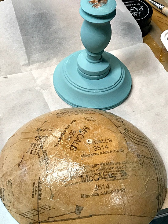 DIY Spring blue decoupaged wooden pedestal bowl