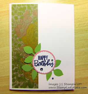 Greeting card with a side strip created with Stampin'UP!'s Breathtaking Bouquet background stamp
