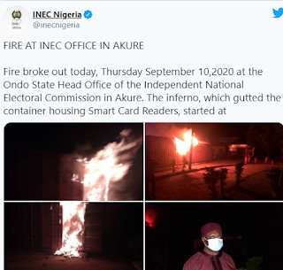 VIDEO: Tension as card readers destroyed as fire guts Ondo INEC headquarters