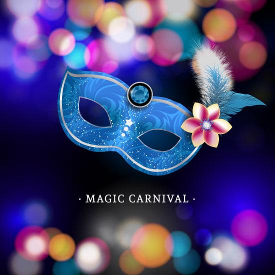 Máscara de Carnaval azul con plumas