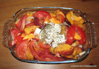 peach and tomato salad with feta cheese and onions