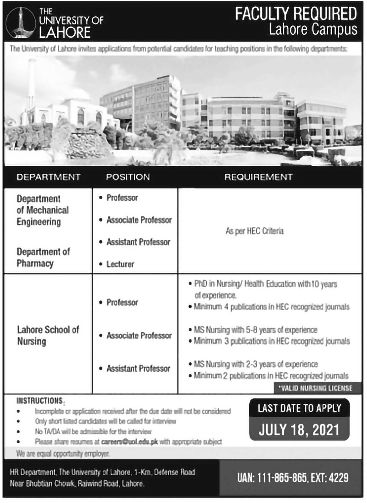 Jobs in The University of Lahore UOL