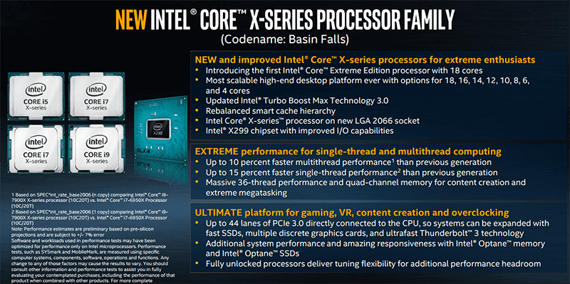 Details on the new Intel Core X-Series processor family