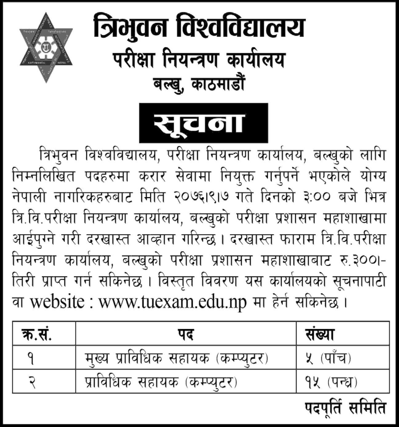 Tribhuvan University Vacancy Notice