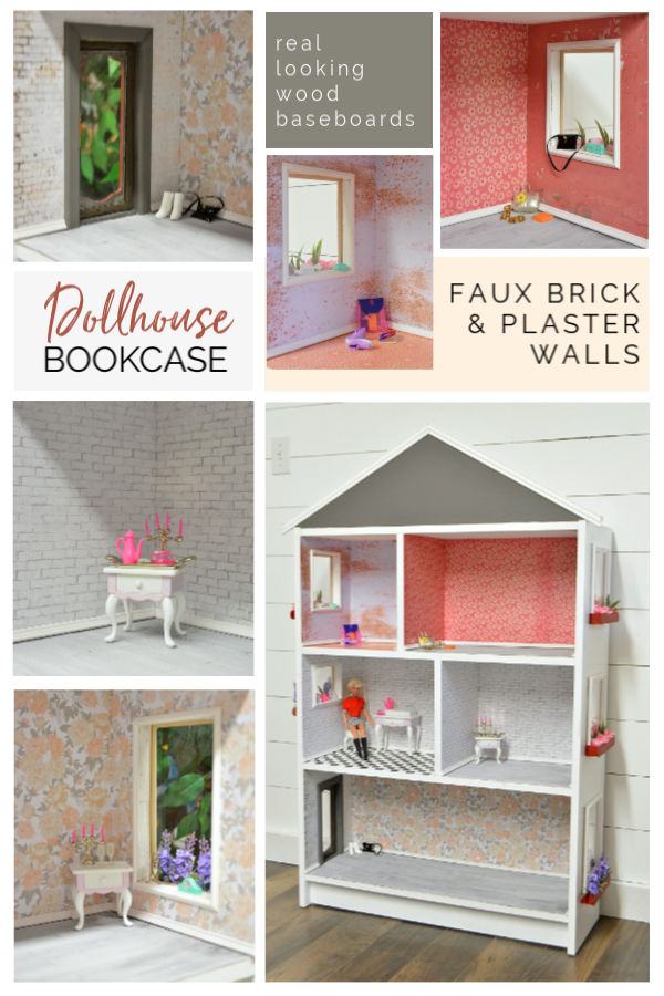 A repurposed IKEA Billy bookcase dollhouse with real wood baseboard trim and decoupage wall coverings in faux brick, plaster, and floral wallpapers. #dollhouseideas #repurposedbookcase