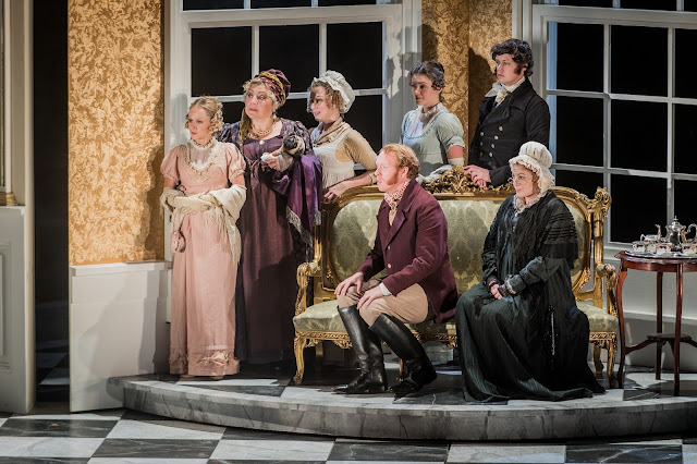 Jonathan Dove: Mansfield Park - The Grange Festival - Emily Vine, Sarah Pring, Martha Jones, Oliver Johnston, Angharad Lyddon, Henry Neill, Jeni Bern (Photo Robert Workman)