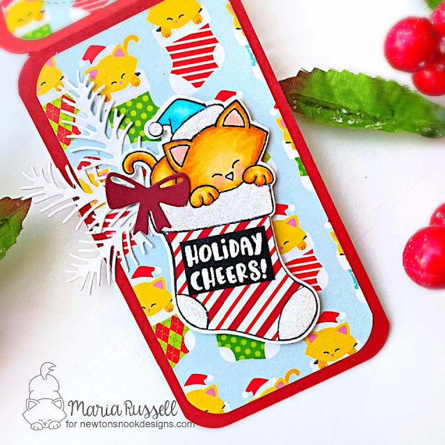 Christmas Gift Tag by Maria Russell | Meowy Christmas Paper Pad, Newton's Stocking Stamp Set and Pines & Holly Die Set by Newton's Nook Designs #newtonsnook #handmade