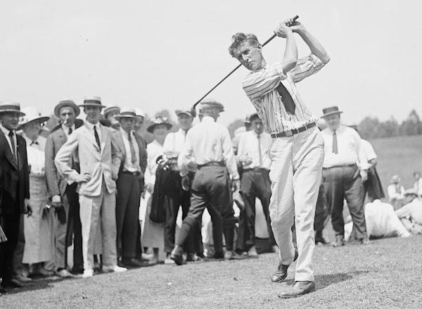 Golf Jim Barnes swinging the club