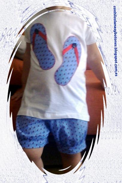 conhiloslanasybotones - conjunto niña pantalón corto y camiseta de chanclas