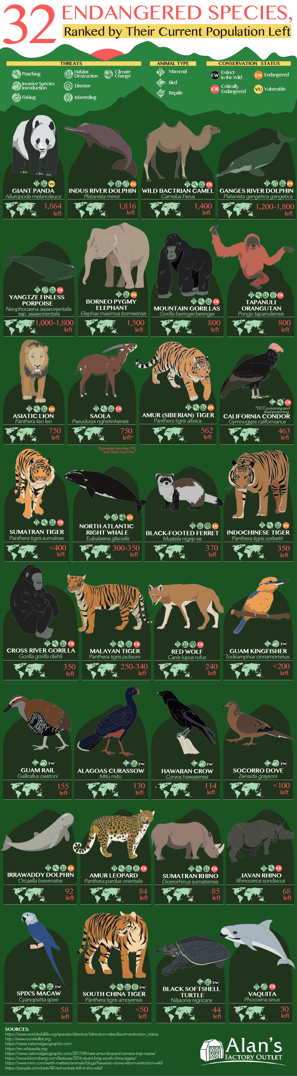 32 Endangered Species, Ranked by Their Current Population Left #infographic