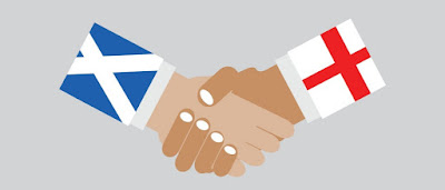 Scotland and England shaking hands