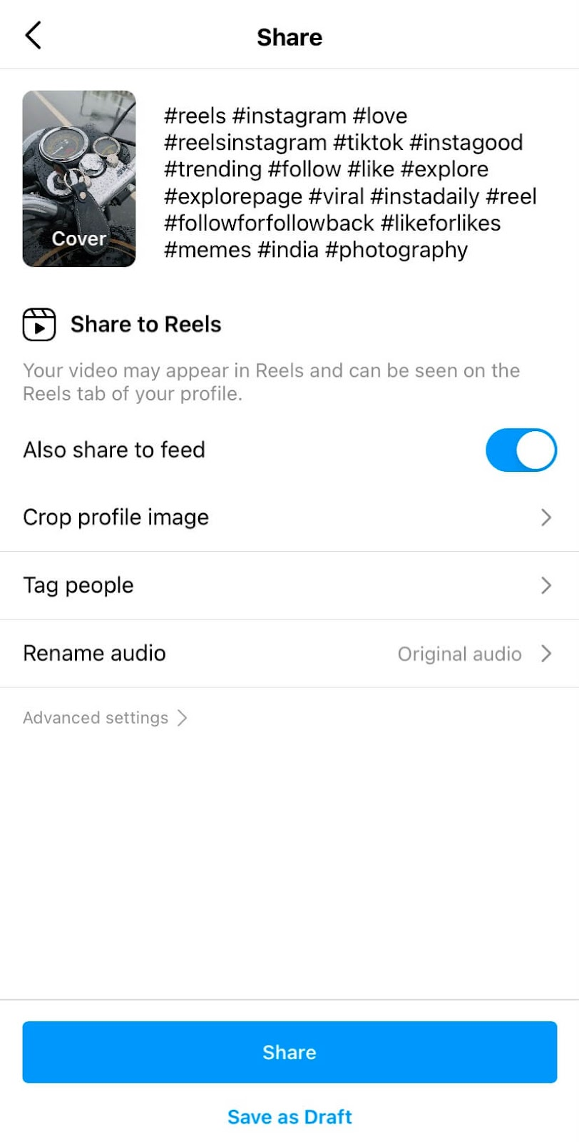 Adding trending hashtags in reels caption