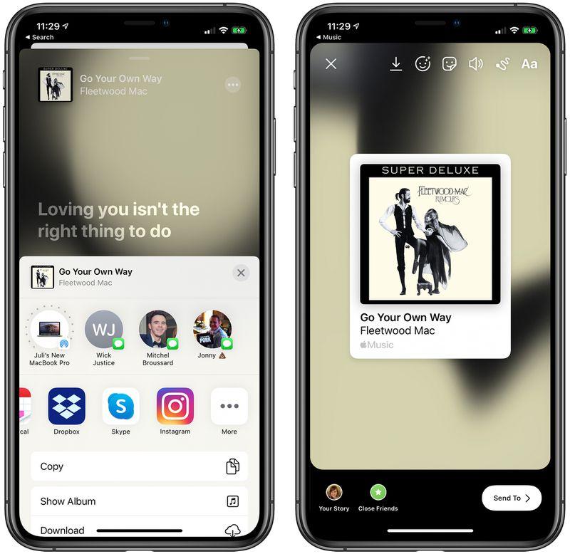 iPhone 將可在 FB 和 IG 限時動態分享音樂歌曲