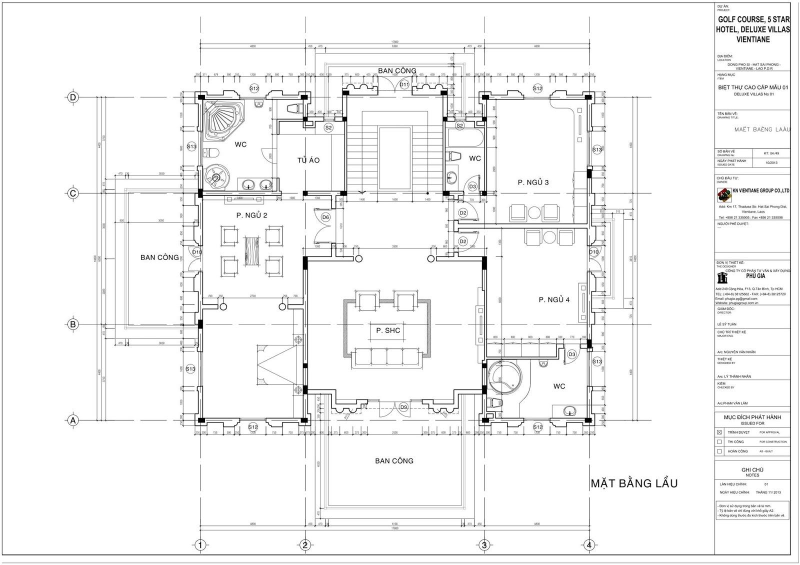 Mặt bằng tầng 1 Biệt thự cổ điển 3 tầng