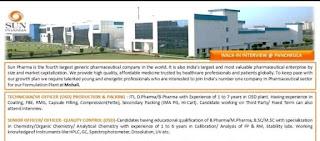 Sun Pharma Recruitment 2021: ITI, D.Pharma, B.Pharma, M.Pharma, B.SC, M.SC Candidates | Walk In Interview