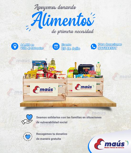 Apoyemos a las familias de aa.hh en Villa el Salvador donando alimentos de primera necesidad