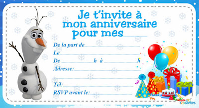 Carte d'invitation gratuite Olaf reine des neiges