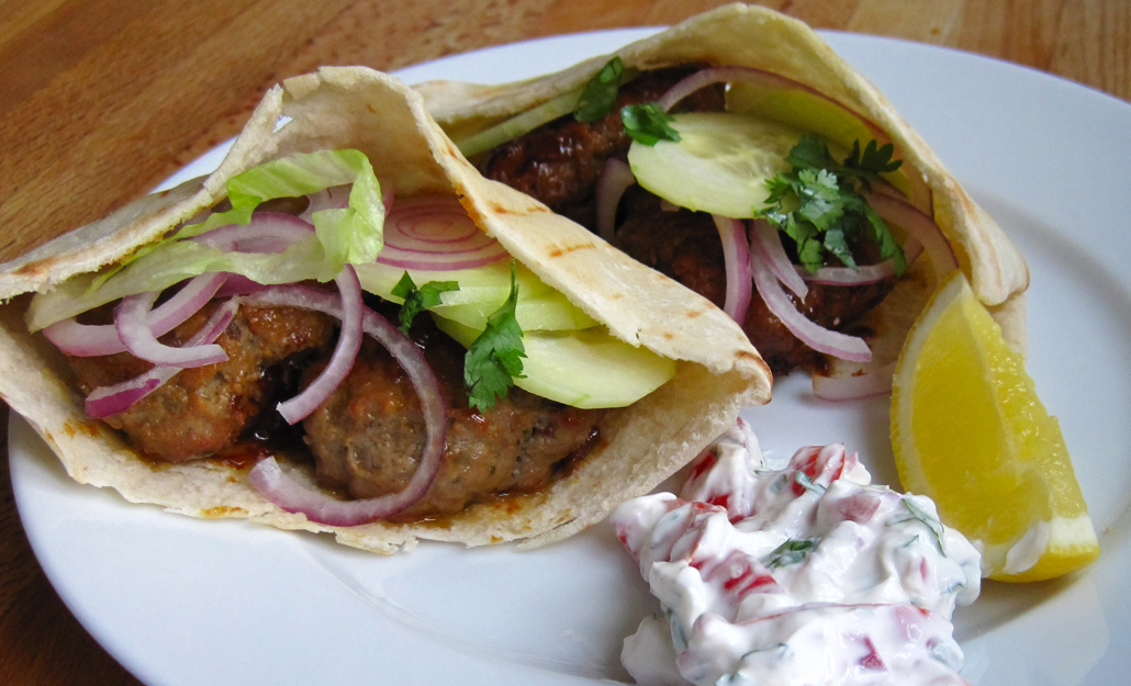 Spiced Lamb Patties in Pitta Bread