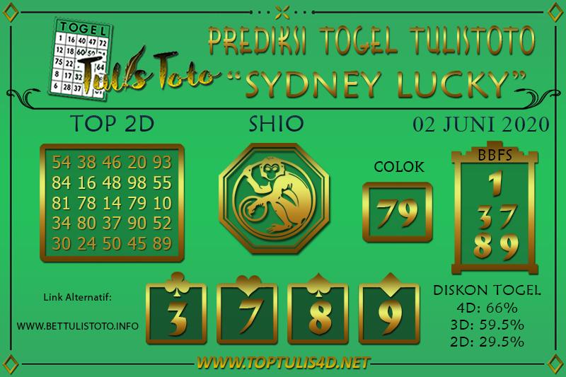 Prediksi Togel SYDNEY LUCKY TODAY TULISTOTO 02 JUNI 2020
