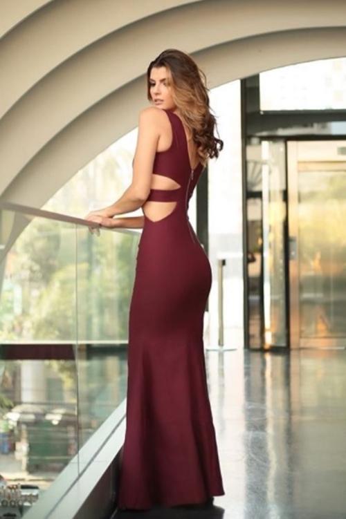 vestido de festa marsala