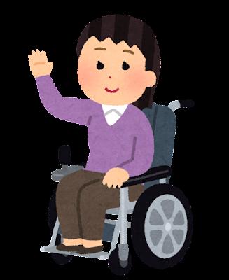 電動車いすに乗る人のイラスト(女性)
