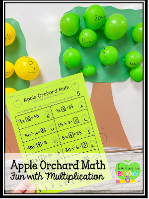 Apple Orchard Math using balloons and multiplication and division facts.