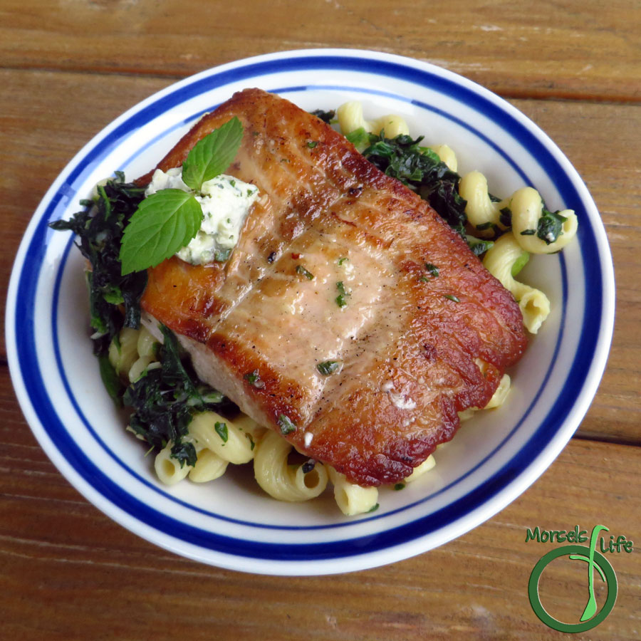 Dinner Morsels of Life - Seared Salmon and Lemon Butter Pasta - Level up your usual pasta with some lemon herb whipped butter and spinach. Top it off with freshly seared salmon. It's easier than you think!