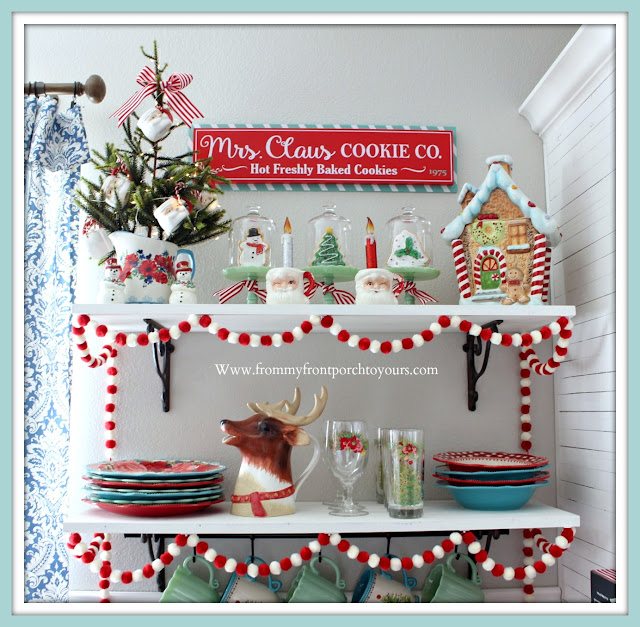 Breakfast- Nook- Christmas -Decor-Cottage-Farmhouse-Vintage-Gingerbread-Pioneer Woman-Jadeite-Santa Mugs-Reindeer Pitcher-From My Front Porch To Yours