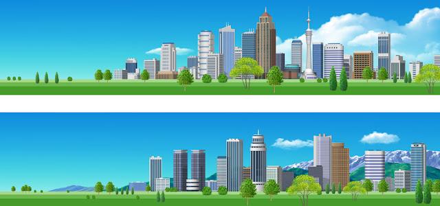 横位置の街並みビル群のイラスト