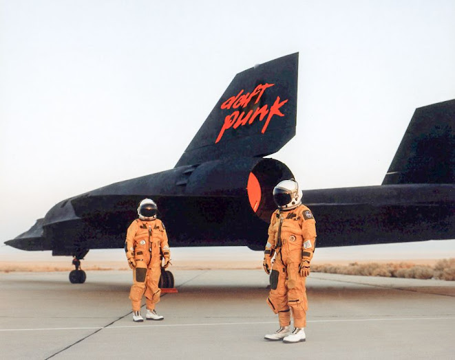 Daft Punk pause for a moment before blasting-off in their Lockheed SR71 Blackbird