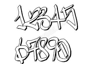 Beste Graffiti Zahlen 0-9 Schriftarten Vektor Kostenlos