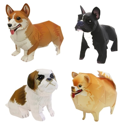 Seven Papercraft Dogs