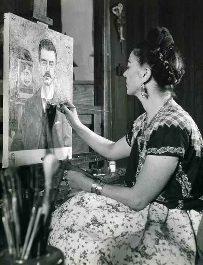 Frida paints a portrait of her father, 1951