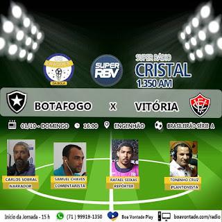 d60516813935d Domingo (01 10) tem jornada esportiva da equipe Os Craques da Bola na Super  Rádio Cristal 1350 AM. A partir das 16 horas a bola rola para Esporte  Botafogo x ...