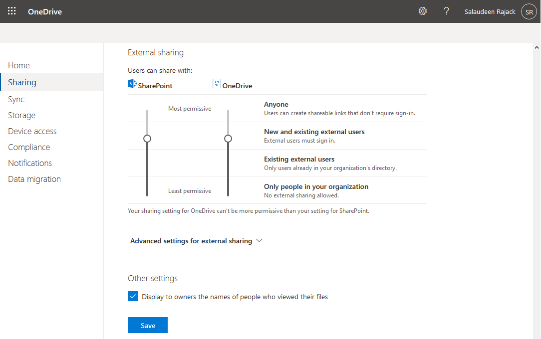 allow external sharing in onedrive for business