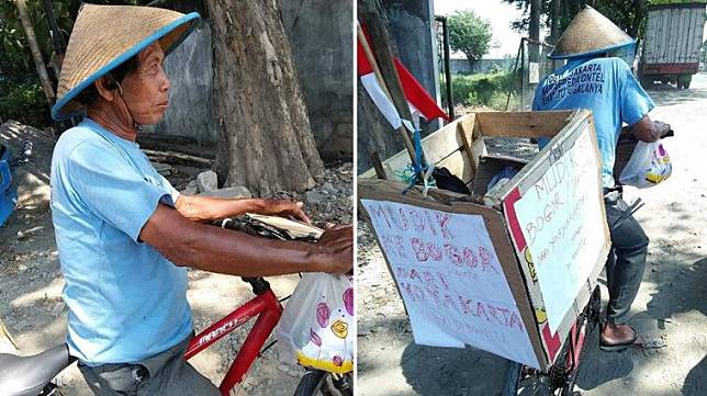 Virall!! Demi Lebaran Bersama Anak, Kakek ini ngayuh sepedah dari Jogya Menuju Bogor