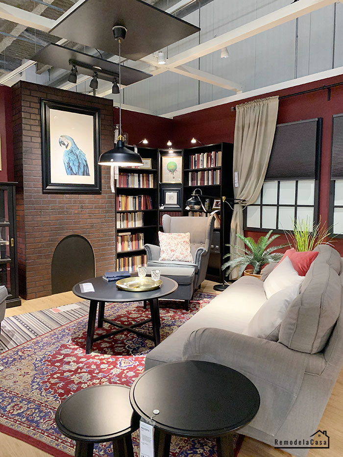 Moody burgundy family room