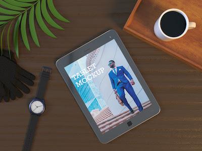 3D Tablet mockup photoshop template