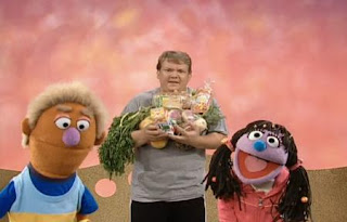 Andy Ritcher and Grover's assistants Bobby and Sissy explain that there are many healthy foods. Sesame Street Happy Healthy Monsters