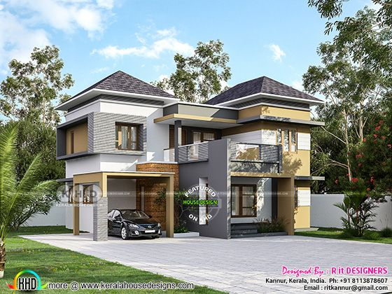4 bedroom sloped roof house plan