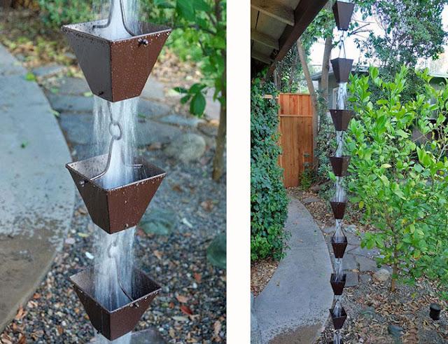 water pouring through a rain chain
