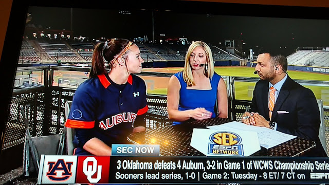 Auburn's Haley Fagan on the SEC Network set in Oklahoma City