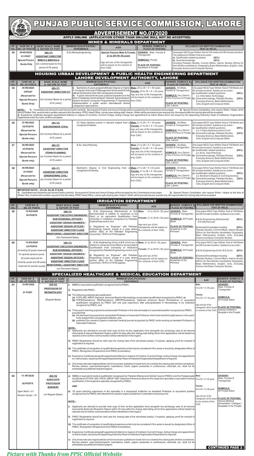 PPSC Jobs 2020 - Latest PPSC Jobs February 2020 Advertisement No. 07-2020