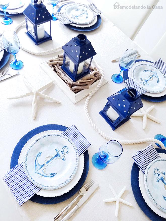 White and blue coastal tablescape