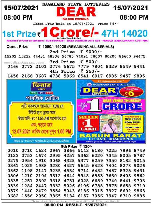 lottery sambad 15 7 2021 night 8pm