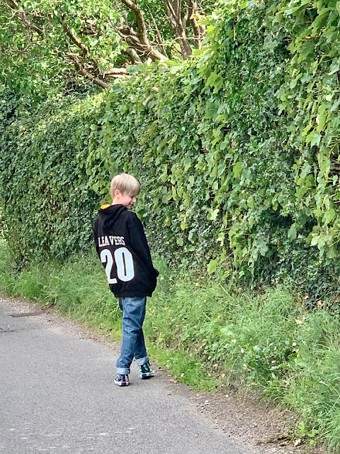 child wearing custom leavers hoody
