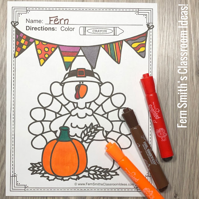 Your Students will ADORE these Coloring Book Pages for Thanksgiving, add it to your plans to compliment any Thanksgiving activity! Forty-eight (48) Coloring Pages For Some Thanksgiving Fun! Color For Fun Thanksgiving Printable Coloring Book Pages. Perfect for holiday party rewards, indoor recess, morning work, emergency sub tubs, fine motor skills, creative writing centers, story starters and more! Coloring Pages for Thanksgiving, Color For Fun Thanksgiving Coloring Book - Perfect for Many Different Types of Thanksgiving Activities in Your Classroom or Home! #FernSmithsClassroomIdeas