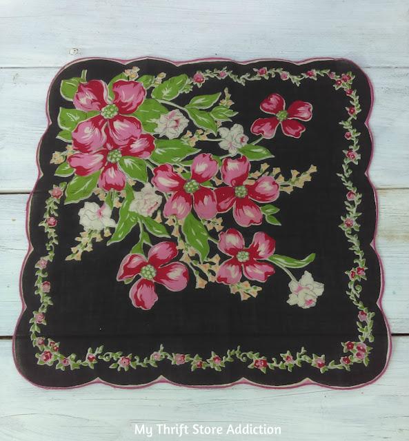 black floral vintage hankie