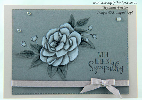 www.thecraftythinker.com.au, So Much Love, Sympathy card, Monochrome card, Watercolour pencils, Stampin' Up Demonstrator, Stephanie Fischer, Sydney NSW