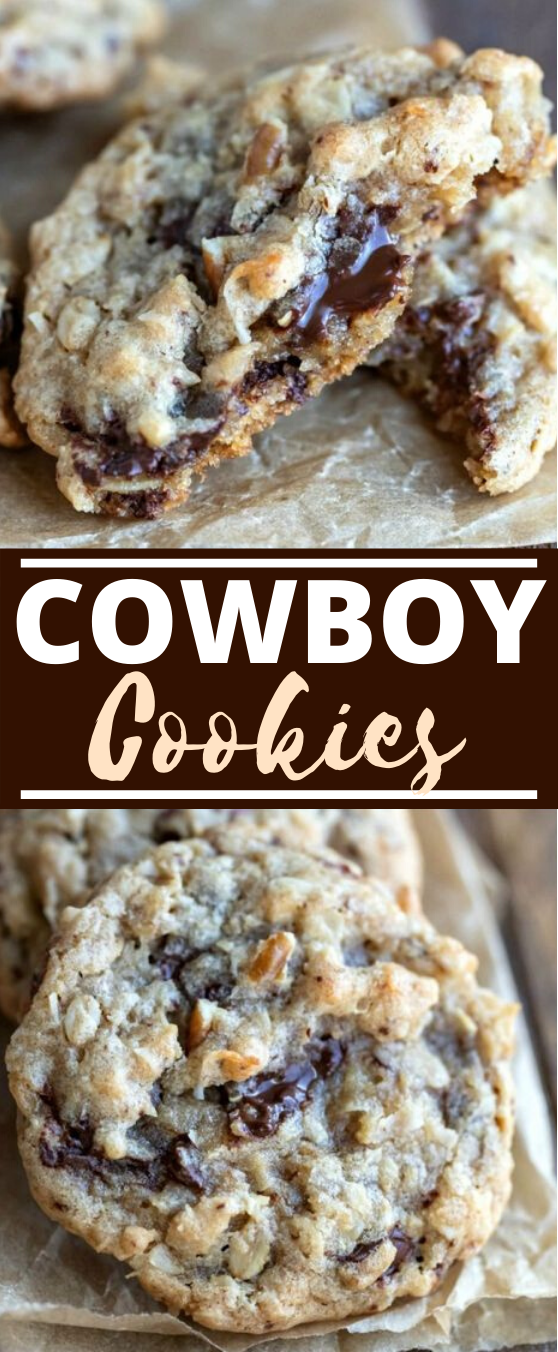 Cowboy Cookies #cookies #recipes #desserts #baking #chocolate